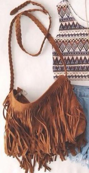 satchel bag noodles purse brown satchel fringed bag
