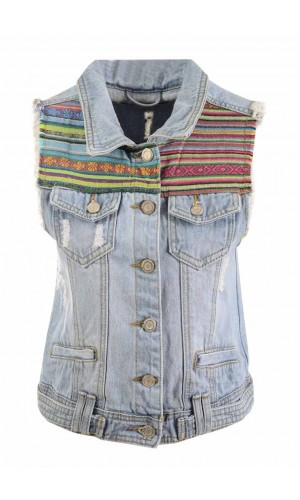 Hiddenfashion.com ladies sleeveless regular fit aztec/tribal acid wash crop denim jackets/tops
