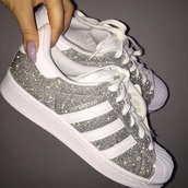 shoes,silver,glitter,silver sneakers,adidas superstars,adidas