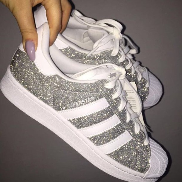 shoes silver glitter silver sneakers adidas superstars. Black Bedroom Furniture Sets. Home Design Ideas