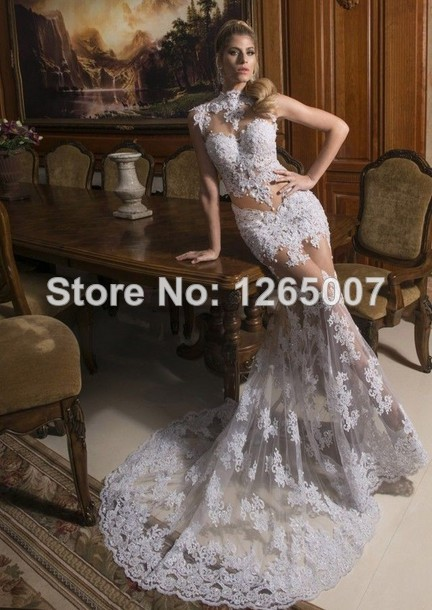 Aliexpress.com : Buy Fashion New Arrival High Collar Cap Sleeves See Through Lace Mermaid Chapel Train Evening Dresses New Fashion from Reliable new directions dress suppliers on SFBridal