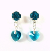 jewels,swarovski earrings,blue earrings,something blue,heart earrings,blue heart earrings,blue heart,swarovski crystal earrings,swarovski blue earrings,indicolite,gifts for her,gifts for bride,bridal earrings,crystal earrings,swarovski jewelry,dangle heart earrings,siggy jewelry,sabika inspired,siggyjewelry