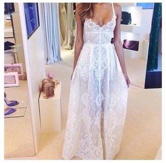 dress lace flowy cute pretty white dress