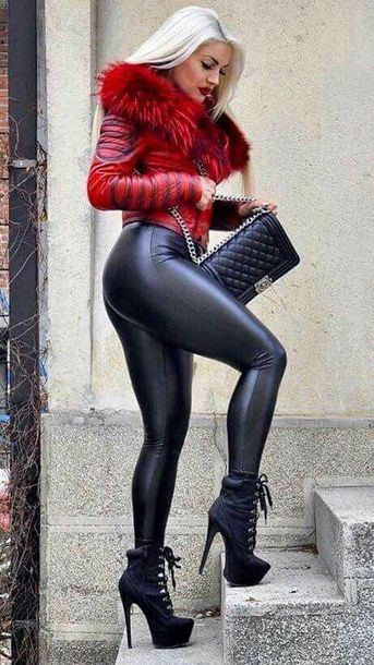 jacket leather red leggings