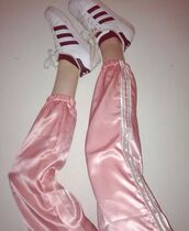 pants,babypink pink pastelpink sweatpants pants aesthetic adidas tumblr
