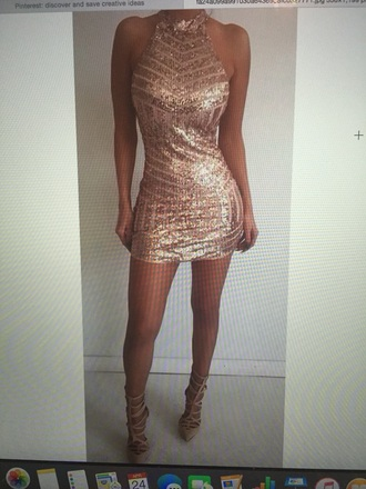 dress rose gold mini dress sparkly dress