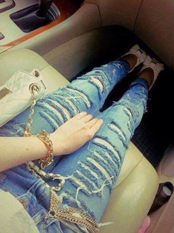 jeans jeans ripped jeans skinny high heels sandals white blue bag shoes