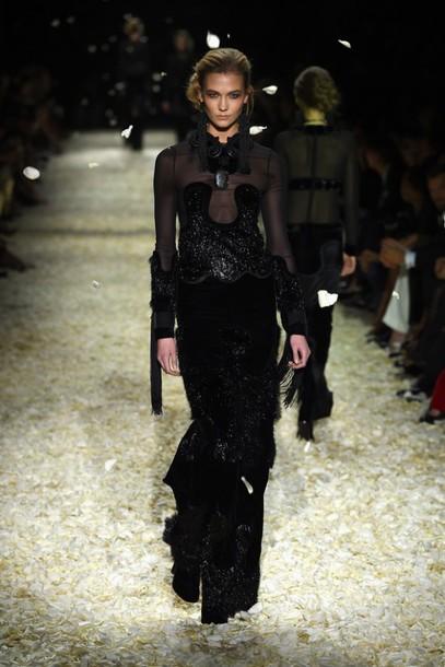 dress black karlie kloss fashion fashion week 2015