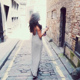 dress stripes summer maxi maxi dress cute low back casual casual dress low back dress striped dress