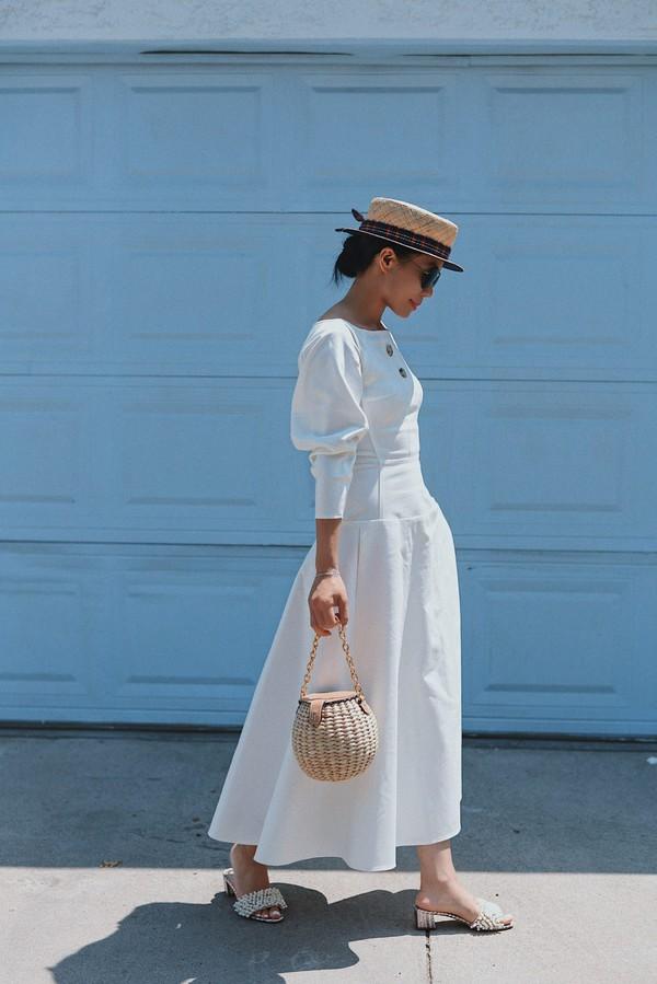 c77009ec418 dress hat tumblr midi dress white dress bag basket bag shoes slide shoes  sun hat.