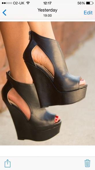 shoes black heels wedge heels peep toe heels leather wedges sexy shoes