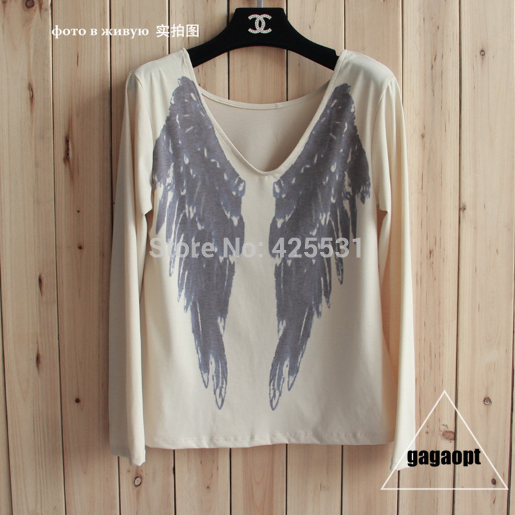 Back wings t shirt for women, quality autumn winter long sleeve Angel wings print t shirt, Sexy V Neck Top Tee-in T-Shirts from Apparel & Accessories on Aliexpress.com