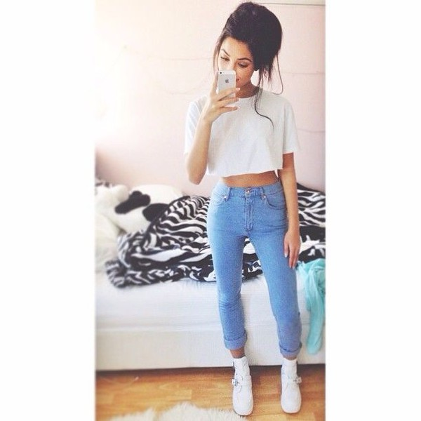 jeans shoes t-shirt blue high waisted skinny