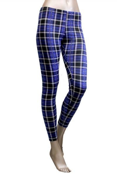 New Blue Plaid Tartan Check Preppy Women Fashion Print Leggings Tights Pants USA