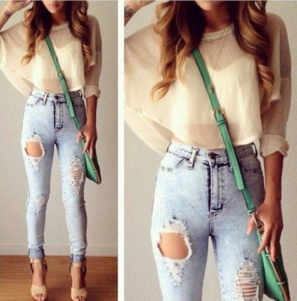 Pants Denim Jeans High Waisted Necklace Jewels Bag