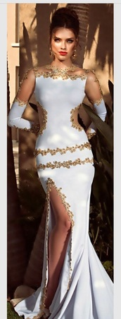 dress,white dress,gold sequins,gold dress,elegant dress,evening dress,long dress,long sleeve dress,prom dress,long prom dress,prom gown,mermaid prom dress,embroidered,floral dress,fashion,prom mermaid dress,style,cute dress,tight,halter neck,gorgeous,gorgeous dress,pretty,love,cut-out dress