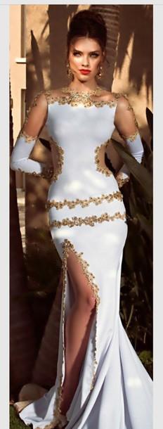 dress white dress gold sequins gold dress elegant dress evening dress long dress long sleeve dress