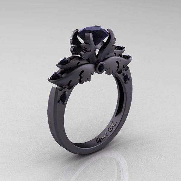 jewels ring matte black dark purple enchanting black gems