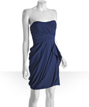 Nicole miller navy stretch georgette draped strapless dress