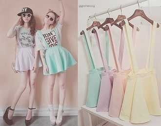 skirt cute beautiful pastels clothes skater skirt purple pink yellow green irange orange suspendera orange shoes