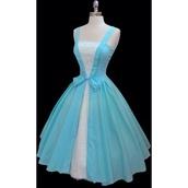 dress,alice in wonderland,blue dress,midi dress,blue and white,50s style