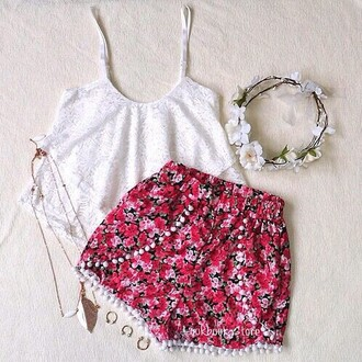 shorts floral flowered shorts short shorts soft shorts pom pom shorts blouse