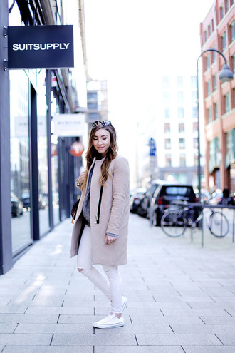 flirting with fashion blogger coat sweater jeans bag sunglasses jewels