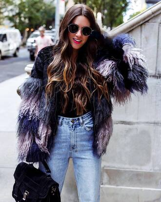 jacket tumblr faux fur jacket sunglasses denim jeans blue jeans bag black bag