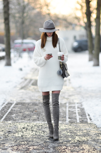 vogue haus blogger sweater dress shoes hat bag thigh high boots grey boots sweater dress felt hat winter outfits tumblr white dress turtleneck turtleneck dress knitwear knitted dress mini knit dress white knit dress grey hat boots over the knee boots suede suede boots grey bag
