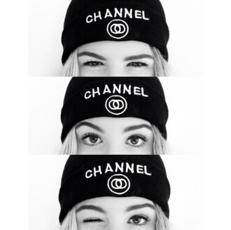 hat white chanel beanie cap black