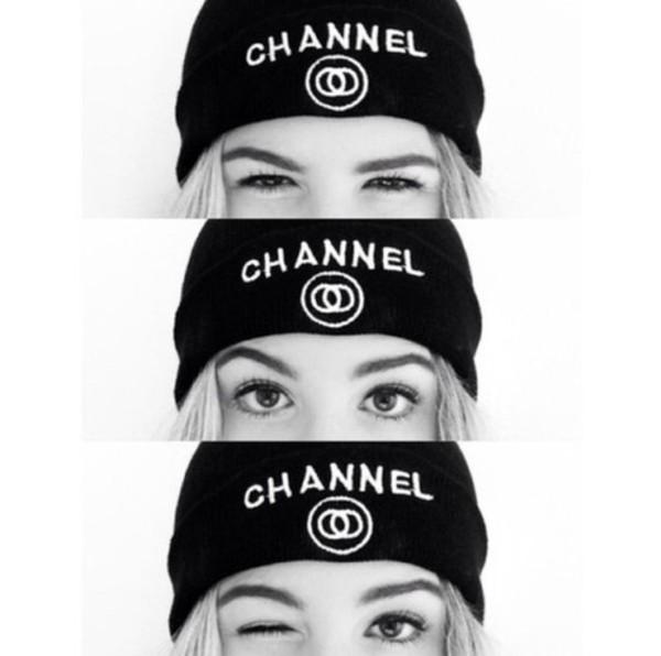 hat white chanel beanie cap black