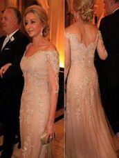 dress,open back,pink,lace,court,off the shoulder,wedding dress,trumpet,long sleeves