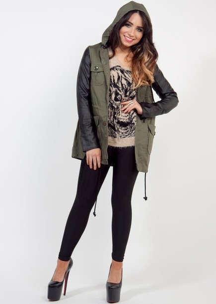 Jacket: olive green, army green, utility jacket, utility, leather ...