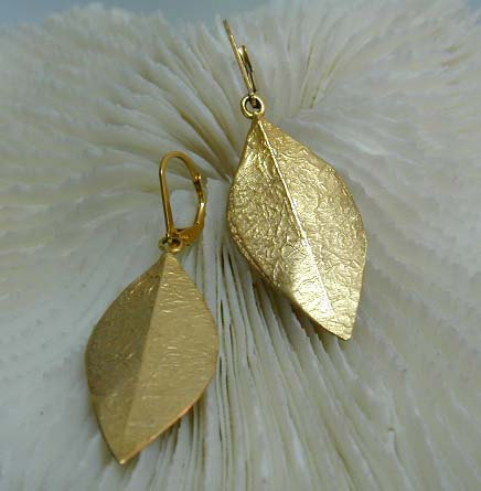 Gold leaf earings by salomea100 on etsy