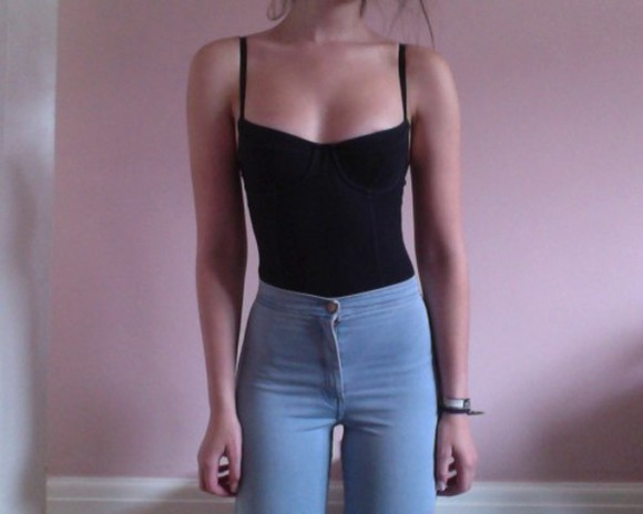 denim light wash high waisted top girl high waisted jeans
