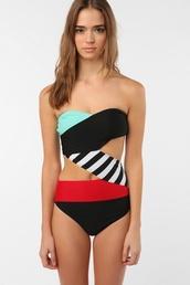 swimwear,red,black,stripes,white,mint,one piece swimsuit