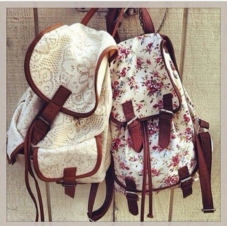 bag white lace backpack fashion back to school school bag style vintage