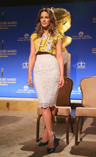 top skirt pencil skirt crop tops kate beckinsale lace skirt shoes pumps