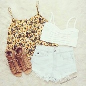 top,shorts,shoes,shirt,crop tops,white,bralette,tank top,bandue top,summer,sunflower,float,girly,floral tank top,summer outfits,blouse