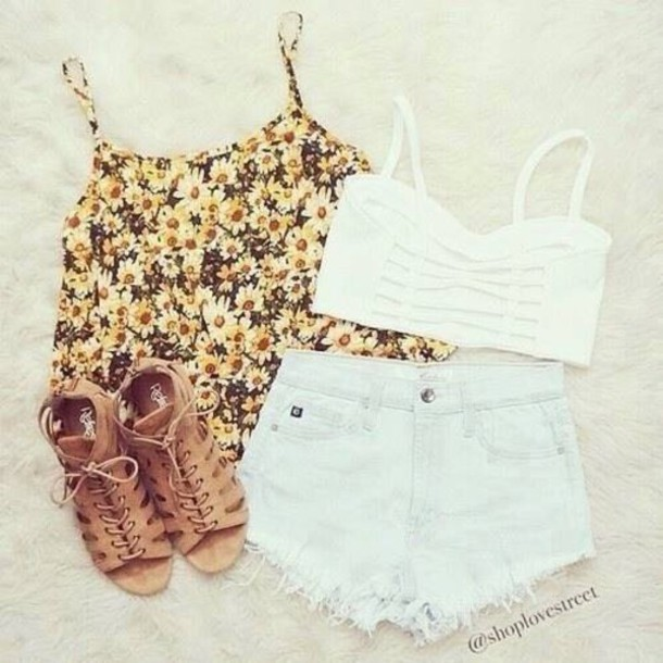 top shorts shoes shirt crop tops white bralette tank top floral tank top summer outfits