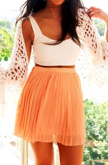skirt mini skirt summer peach pleated highwaisted shorts pleated skirt
