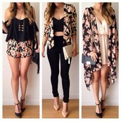 flowered shorts,floral kimono,kimono,floral,pink,girly,summer outfits,summer dress,black,casual,elegant,fashion,style,off the shoulder top,jacket,top,cardigan,floral jacket,blouse,belt,jewels,jeans,black jeans,skinny jeans,floral blazer,jumpsuit,dress,women,crop tops,shoes,outfit,black floral blazer,coat,black blouse,black crop top,white top