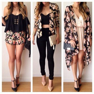flowered shorts floral kimono kimono floral pink girly summer outfits summer dress black casual elegant fashion style off the shoulder top jacket top cardigan floral jacket blouse belt jewels jeans black jeans skinny jeans floral blazer jumpsuit dress women crop tops shoes outfit black floral blazer coat black blouse black crop top white top