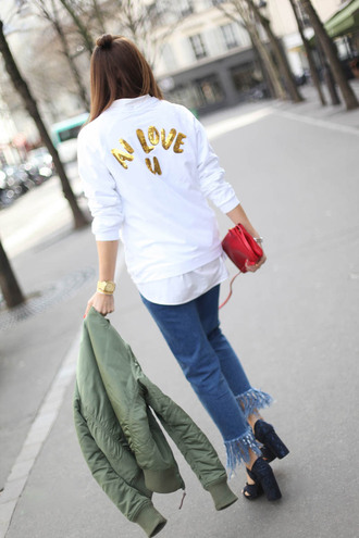 b a r t a b a c blogger bag sunglasses white sweater quote on it army green jacket bomber jacket thick heel black heels frayed denim frayed jeans