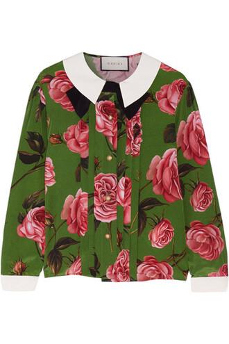 blouse floral print silk green top