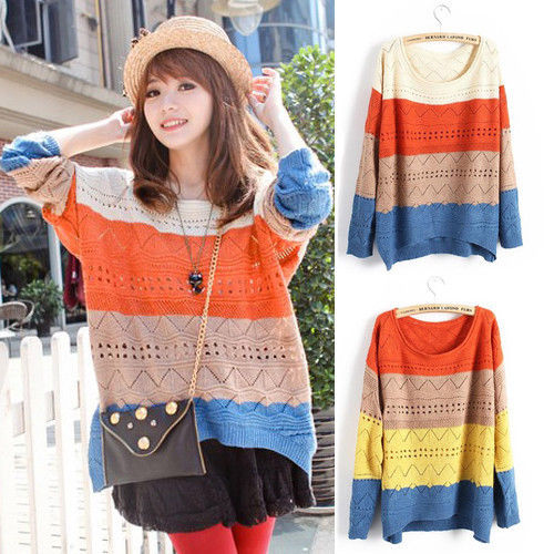 Ladies pullover sweater candy round neck loose jumper hollow knitted top 2colors