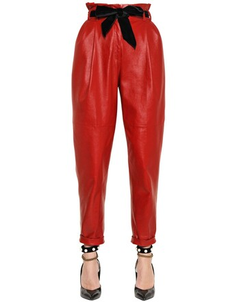 pants leather pants pleated high leather red