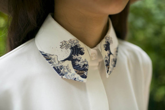 white waves blouse button up embroidered tumblr clothes collared shirts