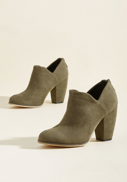 Milyon block heels suede booties amazing new booties heels suede green olive green shoes