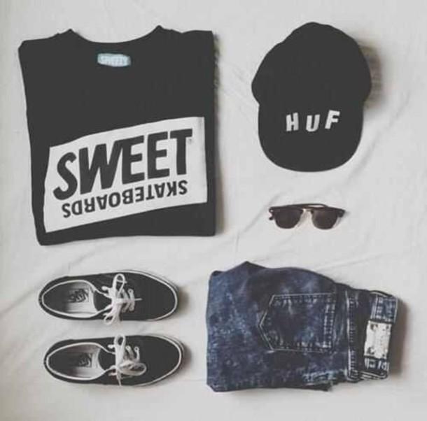 shirt clothes grunge jeans sunglasses